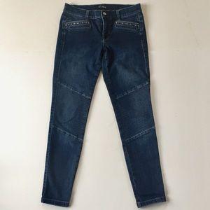 WHBM Skinny Jeans Moro Knee Rhinestone Details 4R